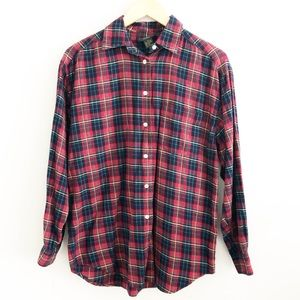 Vintage Charter Club Red Plaid Flannel Button Down